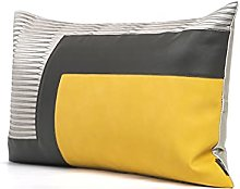 HOUMEL Cushion Cover Yellow Leather And Gray