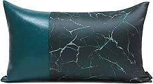 HOUMEL Green Leather Stitching Sofa Cushion Cover,