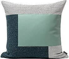 HOUMEL Green Leather Stitching White Cushion Cover