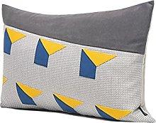 HOUMEL Light Luxury Lumbar Pillow Gray And Blue