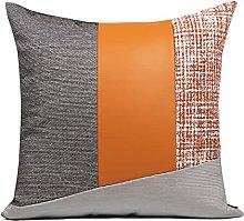 HOUMEL Orange Leather Stitching Gray White Sofa