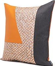 HOUMEL Orange Leather Stitching Sofa Black Texture