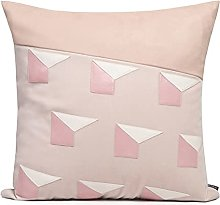 HOUMEL Pink And White Leather Stitching Sofa Red