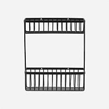 House Doctor - Black Double Bath Basket Shelf - OS