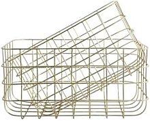 House Doctor - Set Of 2 Large Simple Basket - Gold