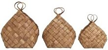House Doctor - XL Brown Pine Wood Conical Basket -