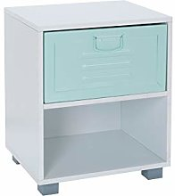 House & Homestyle Bedside Cabinet, Green, Single