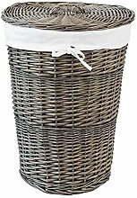 House & Homestyle Wicker Laundry Basket, White,