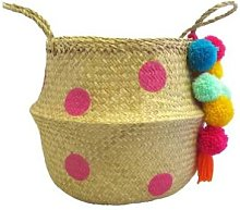 House of disaster - Pink Spot Woven Storage Basket