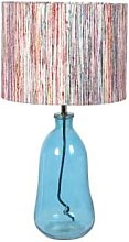 Housed - Blue Glass Table Lamp With Striped Shade