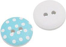 Housweety 150PCs Wood Buttons Dot Pattern 2 Holes