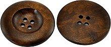 HOUSWEETY 20PCs Dark Coffee 4 Holes Round Wood