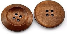 Housweety 50PCs Coffee 4 Holes Round Wood Sewing