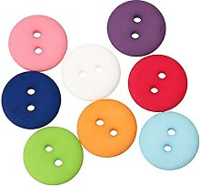 HOUSWEETY 50pcs Mixed 2 Holes Round Resin Buttons