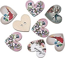 HOUSWEETY 50PCs Wooden Buttons Heart Shaped Flower
