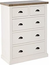 Hove Ivory 2 over 3 Large Chest of Drawers Bedroom