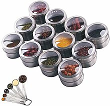 Hovome 12 Magnetic Spice Tins Set Stainless Steel