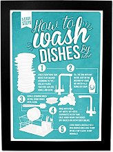 How to Wash Dishes Infographic Poster - A3 Framed