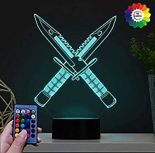 HPBN8 Ltd Creative 3D Saber Knife Night Light USB