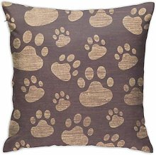 HQSL Brown Cat Paw Print Throw Pillow Covers