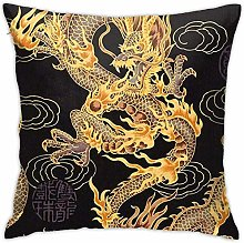 HQSL Rainyy Pillow Covers Yellow Dragon Black