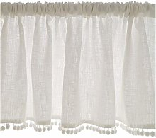 HRD White Short Curtains Kitchen Curtain Tiers