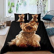 HSBZLH Beige Duvet Cover 3Pcs Dog Lovely Pet Duvet