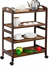 hsj Shelf trolley 3/4 layers Solid wooden trolley