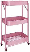 hsj Small Trolley Rack Kitchen Movable Folding