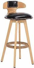 hsj WDX- Bar Stool Solid Wood Bar Chair Creative