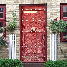 hsowe Medieval Vintage Door Sticker Self-Adhesive