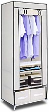 HST Mall Single Canvas Wardrobe with 2 Storage