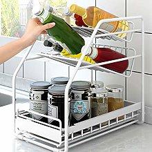 hsy 2 Tier Sliding Cabinet Basket Organizer Drawer