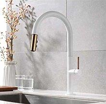 HTBYTXZ Pull out kitchen faucet matte black/white