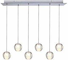 HTL 6 Lights Modern Ceiling Lamp Led Crystal