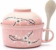 HTL Bowls Creative Ceramic Ramen Bowl with Lid