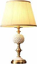 HTL Copper Table Lamp Bedroom Ceramic Table Lamp