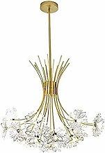 HTL Crystal Dandelion Chandelier, Modern Gold