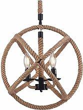HTL Industrial Rope Chandelier Rustic Metal Globe