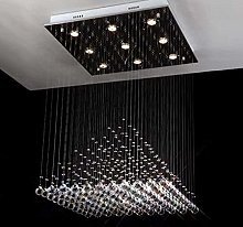 HTL Modern Crystal Chandelier Square Chandeliers