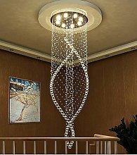 HTL Modern Spiral Crystal Chandelier Lighting