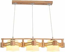 HTL Solid Wood Glass Simple Chandelier - Nordic