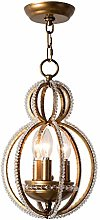 HTL Wrought Iron Crystal Chandelier American