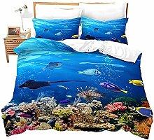 HUA JIE Baby Girl Bedding Crib Sets Fish Duvet