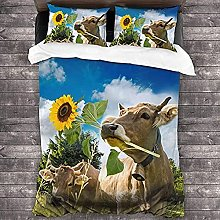 HUA JIE Blue Duvet Cover 3D Animal Brown Cow