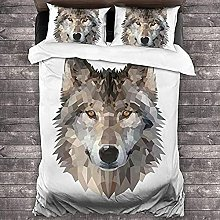 HUA JIE Cute Duvet Cover 3 Piece Animal Wolf