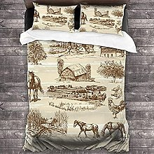 HUA JIE Duvet Cover Queen Size Animal Horse Cow