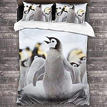 HUA JIE Floral Duvet Cover Cute Penguin Animal