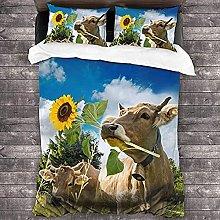 HUA JIE King Duvet Cover 3D Animal Brown Cow