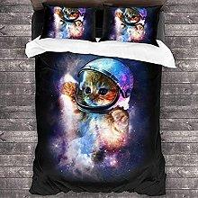 HUA JIE Teal Duvet Cover Animal Cat Astronaut 3